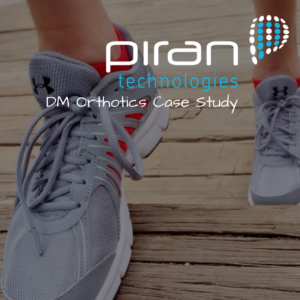 image or trainers running on steps - over the images is the piran technologies logo with text saying DM Orthotics case study